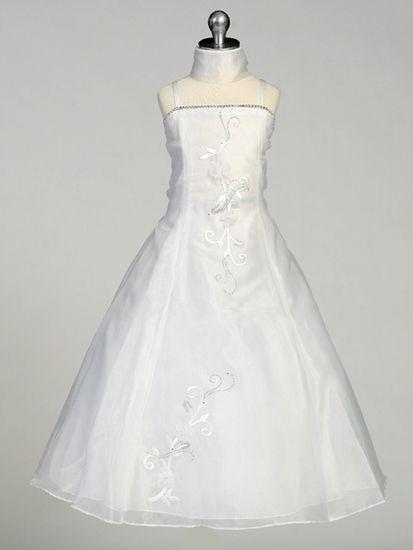 White Flower Girl Dress - Organza A-Line Dress w/ Shawl at PinkPrincess.com