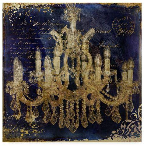 iCanvasART Vintage Chandelier II Canvas Print 37 x 37