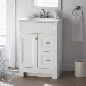 Sheffield Home Madison 24 In W X 19 In D Bath Vanity In White With Engineered Stone Vanity Top In Gray With White Basin And Mirror Ev428w Small Bathroom Vanities Marble Vanity