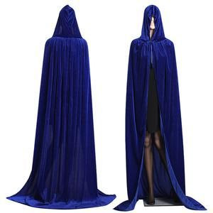 Adult Men Hooded Cloak Gothic Vampire Wicca Long Robe Medieval Larp Cape Cosplay