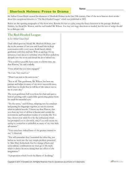 Sherlock Holmes Prose To Drama Worksheet Reading Comprehension Activities Prose Sherlock Holmes
