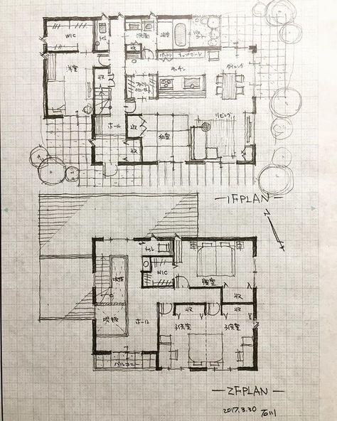 42坪の5人家族の家2 手描き 建築 設計 住宅設計 間取り 間取り図