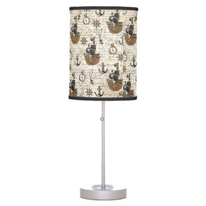 Vintage Pirate Ship Nautical Boy Bedroom Table Lamp Zazzle Com In 2020 Table Lamps For Bedroom Boys Nautical Bedroom Table Lamp