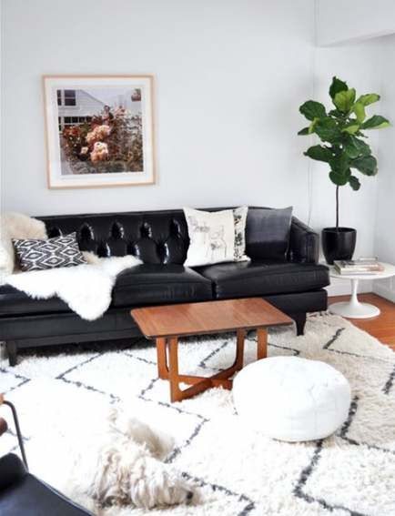 Super Apartment Living Room Black Couch White Pillows Ideas