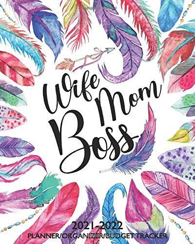 2022 Calendar Cover.Wife Mom Boss 2021 2022 Planner Organizer Budget Tracker 24 Month Block Style Calendar Goals Budget Organization Planner Organiser Organization Planning