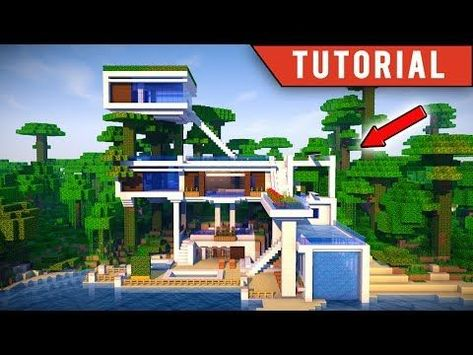 Minecraft How To Build A Jungle Village Modern Treehouse Tutorial