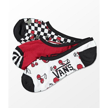 06293aea12 Vans Canoodle Checkerboard Cherries 3 Pack No Show Socks - 2019 ...