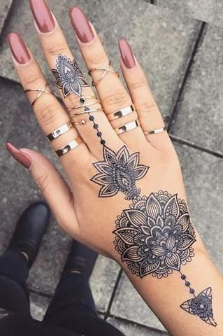 Tribal Lotus Mandala Hand Tattoo Ideas For Teens At Mybodiart Com Black Henna Floral Flower Tat Mandalata Mandala Hand Tattoos