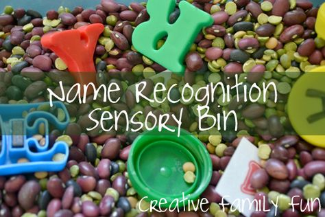 Name Recognition Sensory Bin ~ Creative Family Fun ~ A fun way to help preschoolers learn to recognize their name.