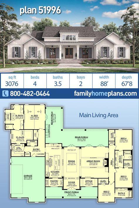 Farmhouse Style House Plan 51996 With 4 Bed 4 Bath 2 Car Garage Family House Plans Farmhouse Style House House Plans Farmhouse