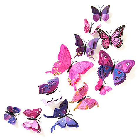 ST park DoubleLayer 3D Magnetic Butterfly Simulation of Threedimensional Wall StickersWeddingLiving roombedroom Wallpaper Decorative Stickers24pcs Purplered * You can find more details by visiting the image link.