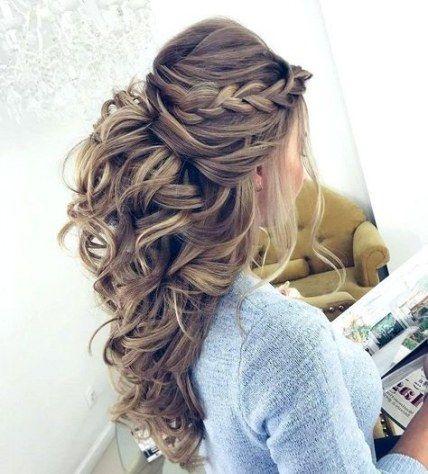 Super Hair Half Up Half Down Curly Long Hairstyles 56 Ideas Down Hairstyles For Long Hair Hair Styles Long Hair Styles