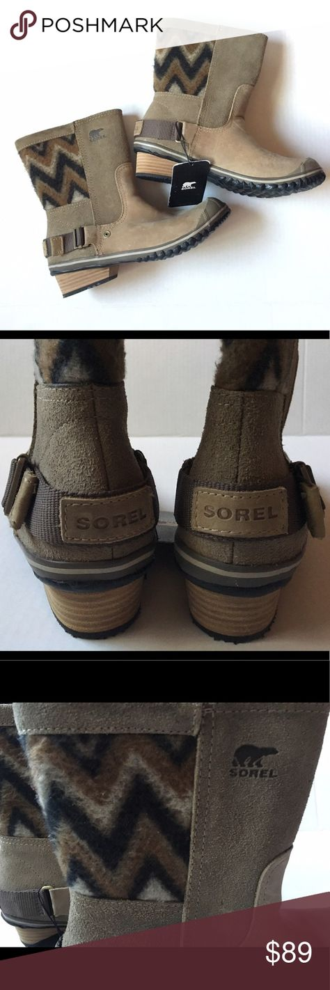 Sorel Slimshortie Boots Women's Pebble/Sage Boot Sorel Boots Slimshortie Women's Pebble/Sage Boot Love the Western style chevron pattern on these very cute boots! These are waterproof! Perfect for being in style in any weather!  Condition: Brand New without Box! Tags are attached! Measurements: Size: 7.5 Heel: Approx 1