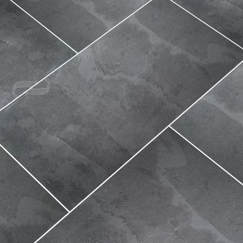 Black Tile Bathrooms, Grey Bathroom Floor, Dark Gray Bathroom, Grey Floor Tiles, Black Tiles, Ceramic Floor Tiles, Tile Bathroom Floors, Master Bathroom, Gray Tiles
