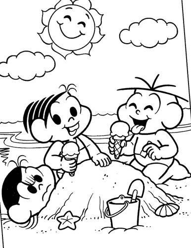 Turma Da Monica Na Praia Desenhos Para Colorir Monica Para