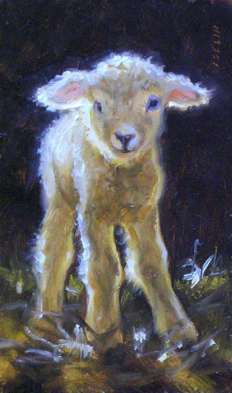 "Wobbly but Willing"" Lamb | Sheep art, Sheep paintings, Animal paintings"