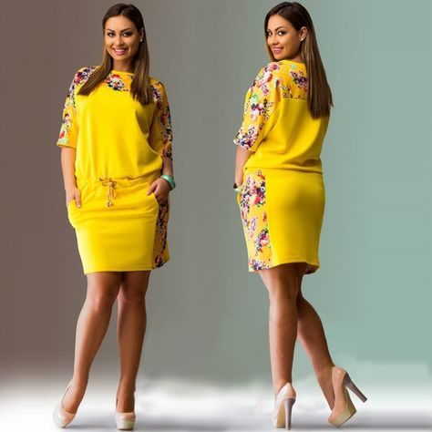 Large Size 2017 Summer Dress Big Size Print Dress Blue Red Yellow Straight Dresses Plus Size Women Clothing Vestidos