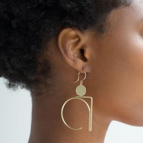 These statement earrings are an abstract-modern work of art, for your jewelry collection.