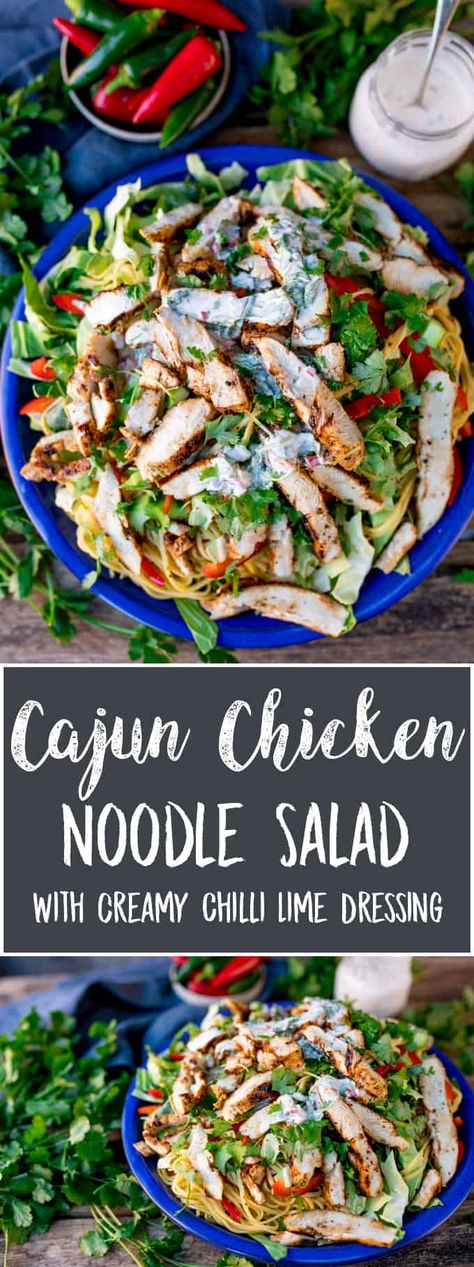 This Cajun Chicken Noodle Salad with Creamy Chilli Lime Dressing is a colourful any-season salad to set your taste buds tingling. Awesome Chicken Salad with a Kick! #Cajunchicken #noodlesalad #glutenfreesalad #glutenfreedinner #creamydressing via @kitchensanc2ary