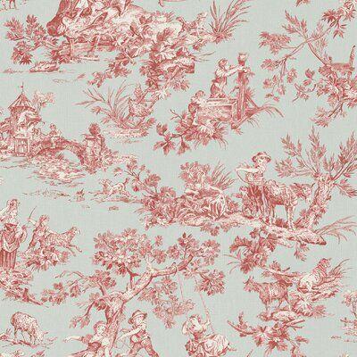 Charlton Home Ashurst 33 X 20 5 Wallpaper Roll In 2021 Toile Wallpaper Red Toile Wallpaper Roll