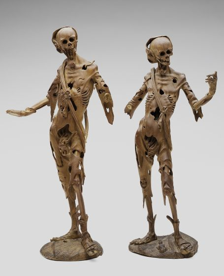 Death with Outstretched Right Arm and Death with Left Hand Raised, German, 1600-50, Harvard Art Museums/Busch-Reisinger Museum.