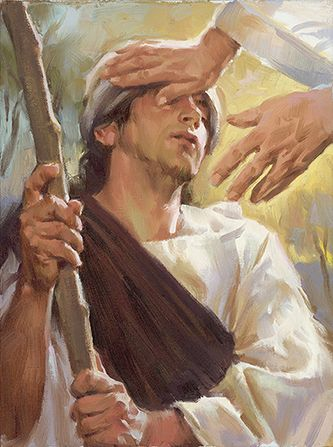 Day 21 - Mother of the Man Born Blind - Christ Healing a Blind Man, by Sam Lawlor