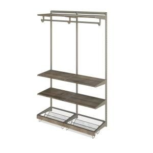 Closetmaid Shelftrack 5 Ft To 8 Ft Nickel Wire Closet Organizer Kit With Wood Trim 32175 The Home Depot Wood Shelves Shelves Closet System