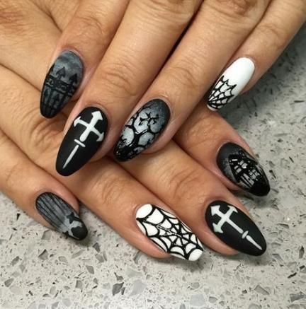 47 Ideas For Nails Classy Grey Black White Halloween Nail Designs Halloween Nails Nails