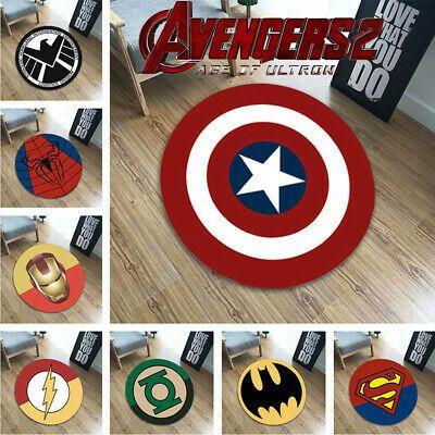 Avengers Superhero Carpet Velboa Floor Round Rug Doormat Non-Slip Chair Mat New