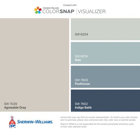 I found these colors with ColorSnap® Visualizer for iPhone by Sherwin-Williams: Agreeable Gray (SW 7029), Sea Salt (SW 6204), Rain (SW 6219), Poolhouse (SW 7603), Indigo Batik (SW 7602). #basementideascolors