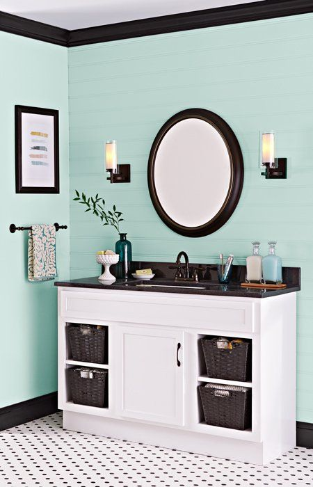 Paint Gives A Dated Vanity In Good Shape A Second Life For Far Less Than The Cost Of A New Cabinet Painting Bathroom Green Bathroom Bathroom Paint Colors
