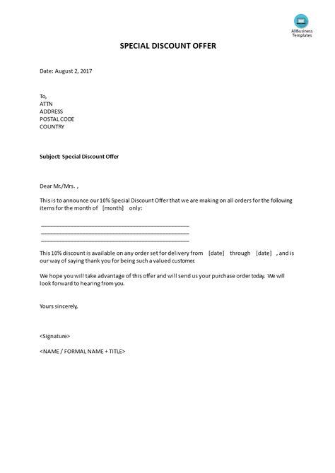 Special Discount Offer Template Sample Letter To Client Of 10