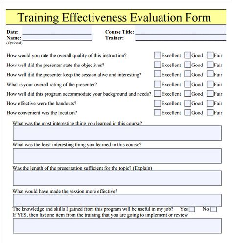 See appended training feedback form with calculation sheets - orientation feedback form