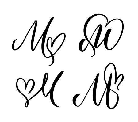 Vector Set Of Vintage Floral Letter Monogram M Calligraphy Element Monogram Letters Floral Letters Lettering