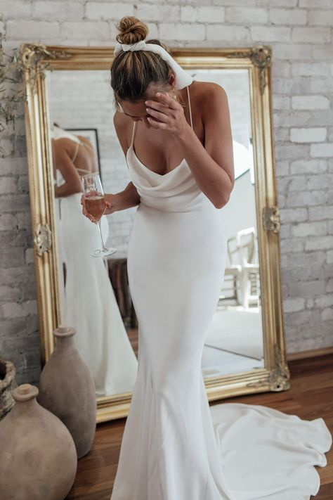 The Honey wedding dress oozes sophistication. A luxurious double-layered Crepe de Chine silk gown,. Shop online or book a bridal showroom appointment today! Lace Wedding Dress, Lace Bride, Dream Wedding Dresses, Bridal Dresses, Wedding Gowns, Bridesmaid Gowns, Hourglass Wedding Dress, Wedding Dress Silhouette, Bouquet Wedding