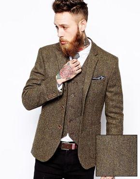 ASOS – Schmaler Blazer aus Harris-Tweed