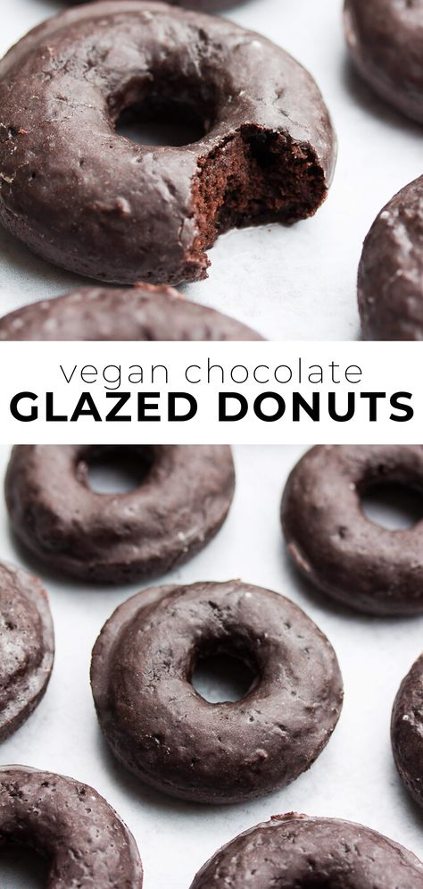 Fluffy and moist vegan chocolate glazed donuts are a wonderful treat! Baked instead of fried, and covered with an easy glaze. Vegan Donut Recipe, Baked Donut Recipes, Baking Recipes, Healthy Baked Donuts, Keto Donuts, Donuts Donuts, Vegan Cupcakes, Keto Recipes, Vegan Treats