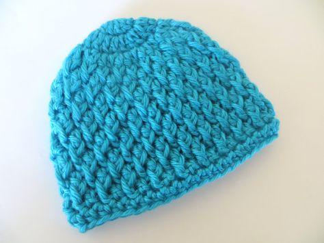 39d6da44ada Handmade Crochet Beanie Hat BlueMint Turquoise Aqua for girl or boy neutral  unisex newborn infant toddler child by CrochetToZ
