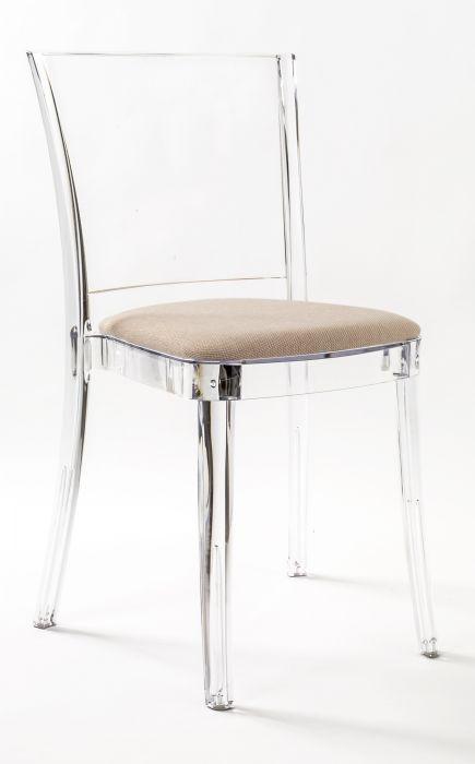 Chaise En Polycarbonate Transparent Avec Coussin Lucienne Noisetier Bicolor Chaise Transparente Chaise Polycarbonate