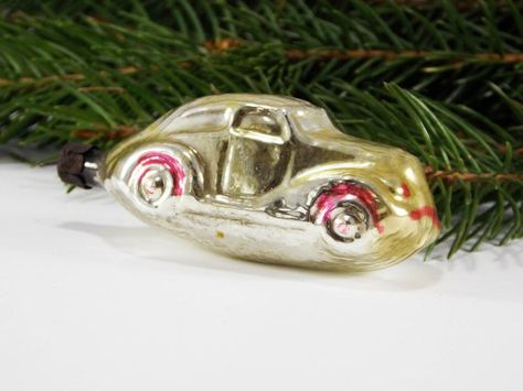 Car toy boy christmas ornament gold glass christmas auto automobile car  rare collectible baby first - Car Toy Boy Christmas Ornament Gold Glass Christmas Auto Automobile