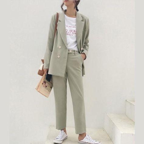 Vintage Autumn Winter Thicken Women Pant Suit Light Green Notched Blazer Jacket & Pant 2020 Office Wear Women Suits Female Sets - lighht green / S