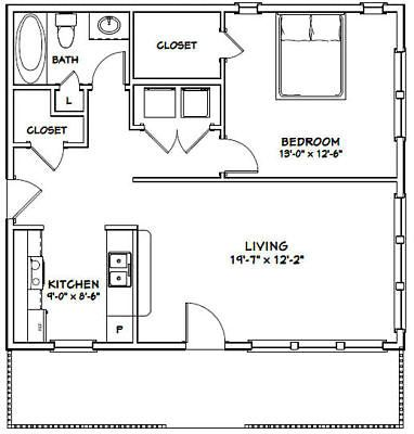 30x26 House 1 Bedroom 1 Bath 780 Sq Ft Pdf Floor Plan Model 3a Ebay 1 Bedroom House Plans Floor Plans Apartment Floor Plans