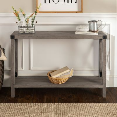 Modern Farmhouse Gray Wash Console Table Entry Console Table Open Concept Living Room Console Table