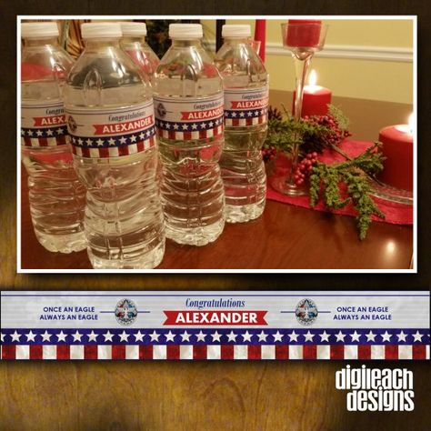 DIGITAL FILE ONLY – CUSTOMIZED AND EMAILED TO YOU. THIS IS NOT AN INSTANT DIGITAL DOWNLOAD THAT YOU EDIT YOURSELF. This listing is for customized do-it-yourself printable water bottle labels designed to coordinate with your Eagle Scout Court of Honor invitations, program booklets,