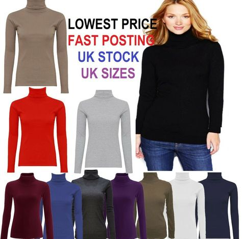 Womens Ladies Ribbed Cotton Roll High Neck Polo Turtle Top Jumper FullSleev*Polo