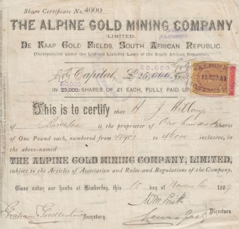 Share Certificate no 4000 - The Alpine Gold Mining Company Limited - company share certificates