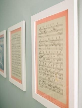 Custom framing sheet music from a favorite lullaby or nursery rhyme for baby's room.