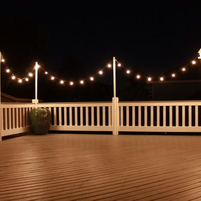 Great idea string lights around a deck or outside space to add a great idea string lights around a deck or outside space to add a romantic swanky feel when they are turned on at night lake lot pinterest fun aloadofball Gallery