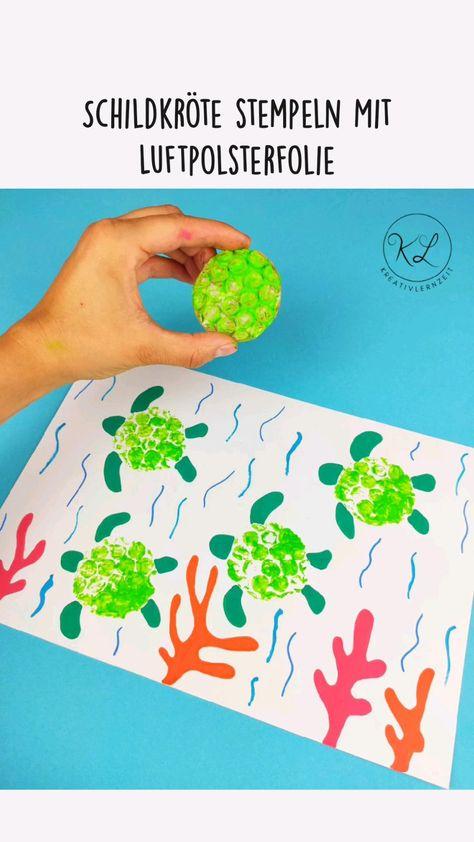Schildkröte stempeln Mit Luftpolsterfolie   Bastelidee   Malen   Kindergarten   Kleinkind   Kunst