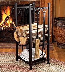 Enclume hearth sling log rack with tools fireplace tools logs and log holder fireplace tools teraionfo